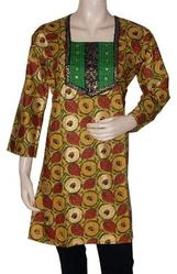 Designer Long Kurta Top Tunic Dress Cotton With Golden Hand Block