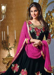 Indian Lara Dutta Black Anarkali Frock For Mehendi Event Best offer