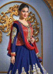 Lara Datta In Blue Floor Length Anarkali Suit very best cheap deal