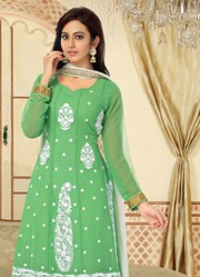 Light Parrot Full Sleeve Designer Anarkali Suits very best cheap deal