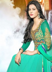 VandV Embroidery Handwork Cyan Anarkali Suit very low price only 1999