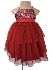 Pari Red shimmer Dress for Kids Girl - Faye