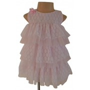 Multi-Layered Pink and White Ruffle Dress for Special occasions