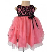 Onionpink And Black Net Ballerina Dress For Your Child