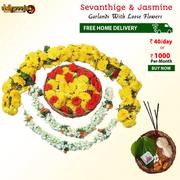 Buy Sevanthige And 2 Jasmine Garlands Combo @ Rs 40/- Only