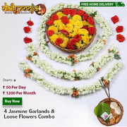 Jasmine Garlands & Loose Flowers Combo Rs 50 Per Day / Rs 1200 Per Mon