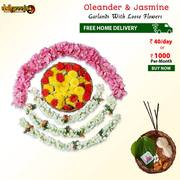 Buy Oleander And 3 Jasmine Garlands With Loose Flowers Combo @ Rs 40