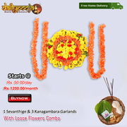 1 Sevanthige & 3 Kanakambara Garlands With Loose Flowers Combo @ Rs 50