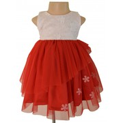 Red And Ivory Applique Ceremony Dress For Your Little Angel