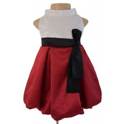 Ivory And Maroon Halter Neck Dress For Your Little Diva