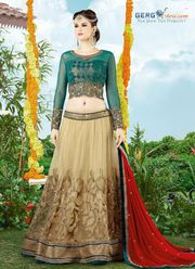 The Attractive Embroidered net Lehenga Choli @ 55% Discount