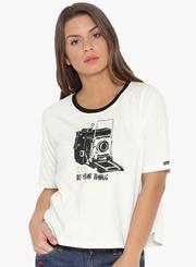white color half sleeve t shirt for women