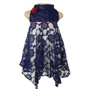 Navy Blue Lace Handkerchief Dress From Faye