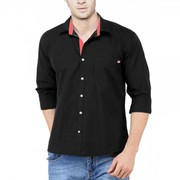 100% COTTON SLIM FIT CASUAL BLACK SHIRT With 67% Off