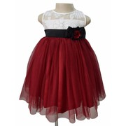 Ivory & Maroon Girls Party Dress At Faye Store