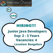 Junior Java Developers - 4 Vacancies - Bangalore Location