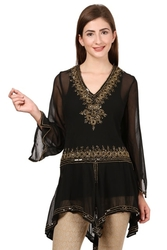 Black Partywear Embroidery Kurta at Best Price