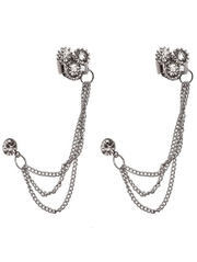 women party wear silver Tassels ear cuffs