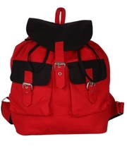 Women's Red color backpack with canvas material