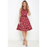 Red Skater Dress For Girls With Belt