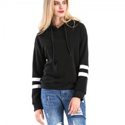 Striped Full Sleeve Kangaroo Pocket Black Fleece Sweatshirt With Hood