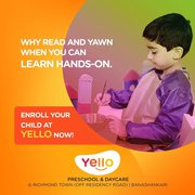 Yello is Best Preschool in MG Road,  Now Open for Admissions - Daycare