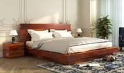 Look at the elegant double bed designs online @ Wooden Street
